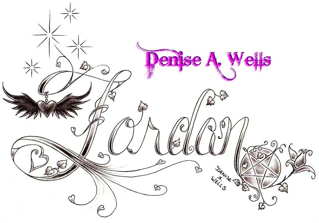 Jordan tattoo design by denise a wells flickr photo for Girly font tattoo