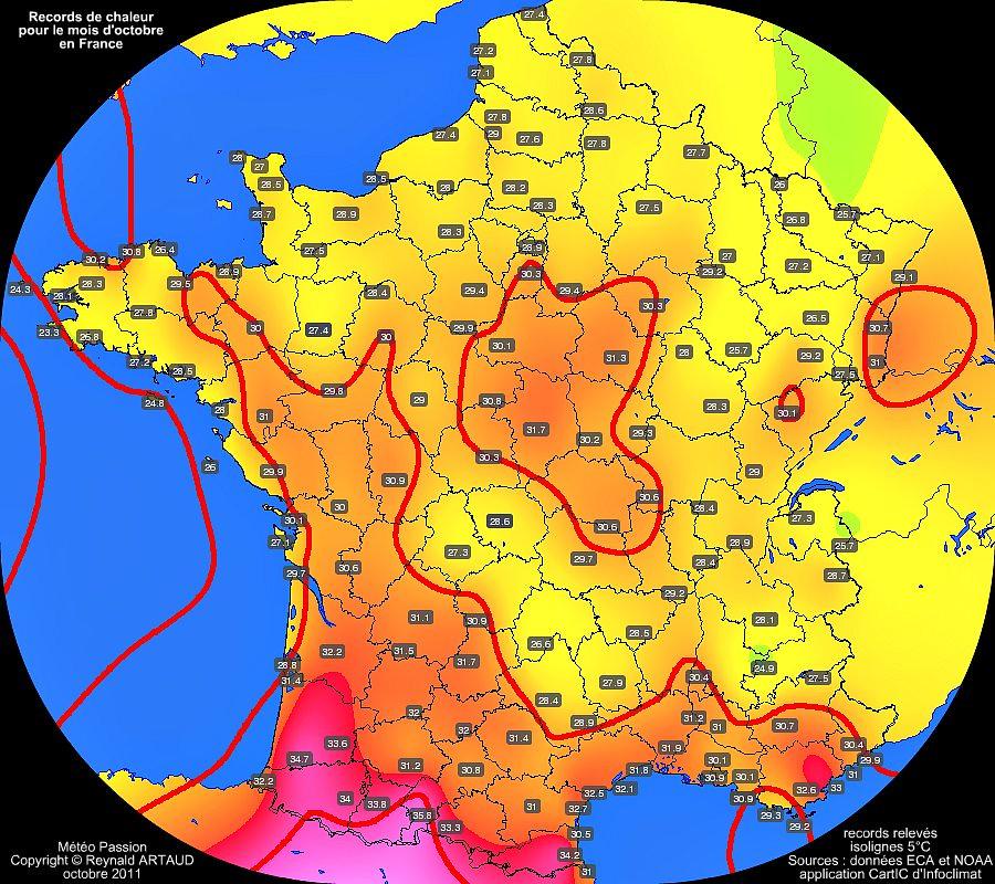 records de chaleur des températures maximales pour le mois d'octobre en France Reynald ARTAUD météopassion
