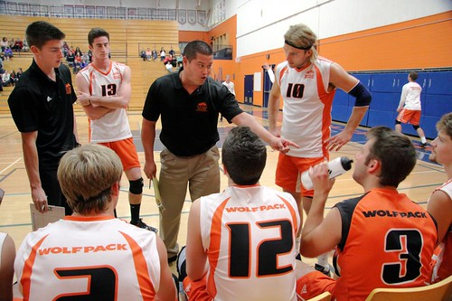 Hennelly giving instructions at bench at TRU Gym vs U of S (horizontal Oct 14, 2011 Douglas Sage)