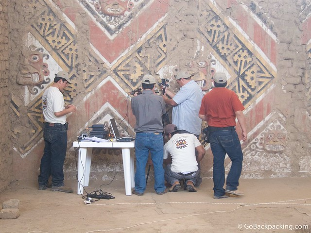 Restoration work is an ongoing process inside Huaca de la Luna