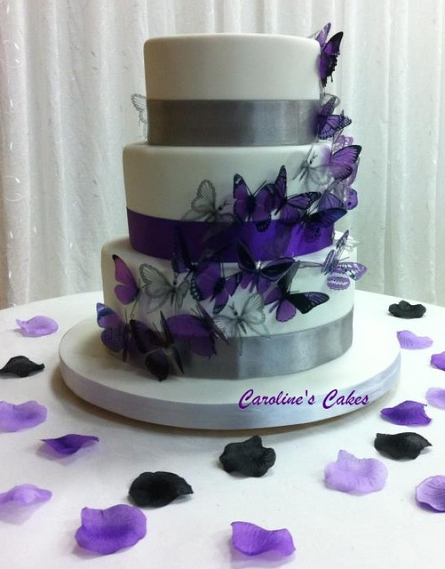 Purple And Silver Butterfly Wedding Cake