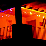 A lighted porch