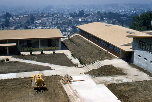 College of the Holy Names Library and Brennan Hall under construction, July 1957