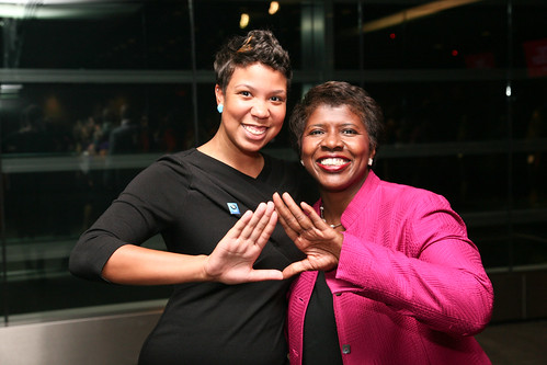 Nicole Wells Foster and Gwen Ifill