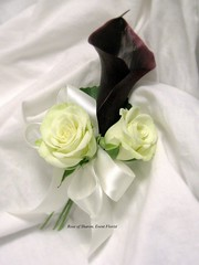 Corsage: White Spray Roses & Burgundy Calla