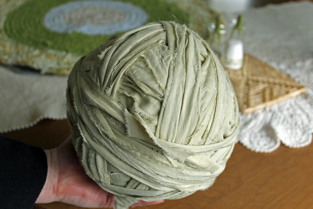 rag strip yarn ball