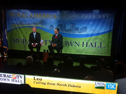 "Sec. Vilsack fielded questions on a wide range of issues from rural renewable energy production to conservation and crop insurance during the live Town Hall broadcast ""Blueprint for a Rural America Built to Last."""