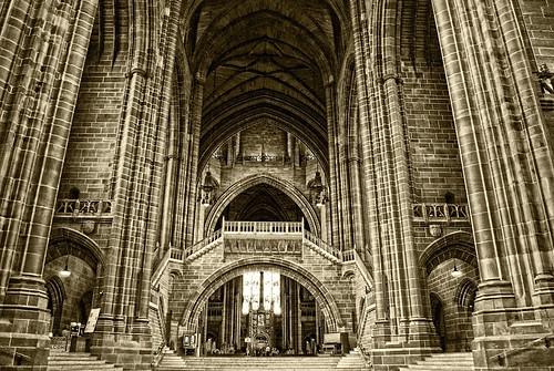 england building sepia architecture liverpool nikon worship cathedral unitedkingdom coolpix anglican merseyside s800 liverpoolanglicancathedral liverpoolcitytour