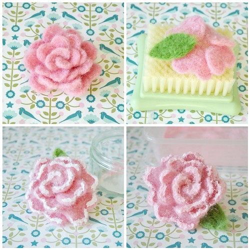 Needle felting roses steps 21-24