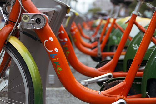 City bikes with cute logo