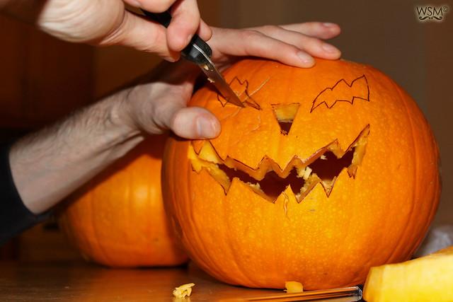Now cut the eyes - Pumpkin making - Halloween 11