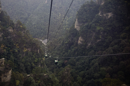 Cable Cars in Huangshizhai, Zhangjiajie National Forest Park, China.
