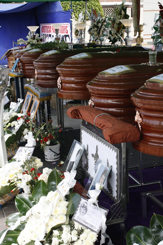 Coffins exposed in El Santa's main plaza
