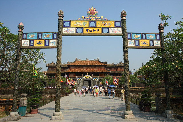 Approaching Forbidden City's gates, Hue, Vietnam