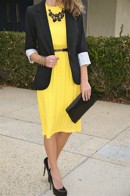Yellow dresswith black accents