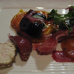 roasted beet salad with blackberry-shiraz vinaigrette, pistachio-crusted goat cheese and serrano ham