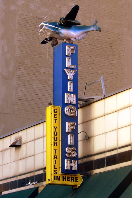 Flying fish restaurant neon sign downtown memphis for Fishing in memphis