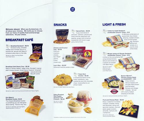 American Airlines Spring Menu: inside fold