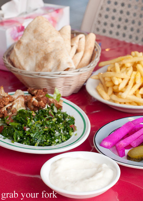 garlic sauce, lebanese bread and salad at habib's charcoal chicken, bankstown