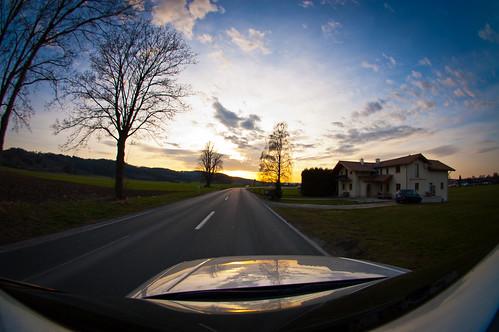 road sunset bavaria fisheye