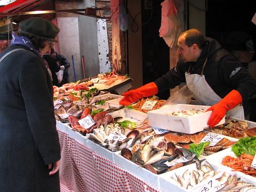 Pescados y mariscos en el Mercado del Rialto