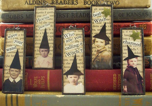 Little Witches and Wizards Collage Art Soldered Pendant