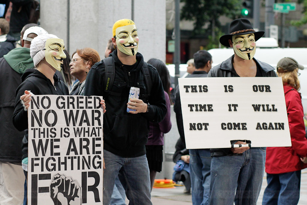 occupy seattle - anonymous posing