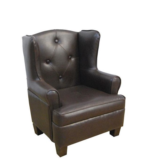 Kids brown faux leather wing back chair flickr photo for Toddler leather chair