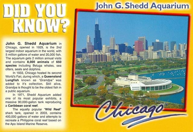 Illinois Chicago John G Shedd Aquarium With Facts
