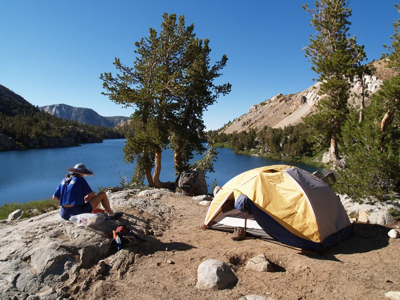 Our campsite at the upper end of Long Lake - What a great view!