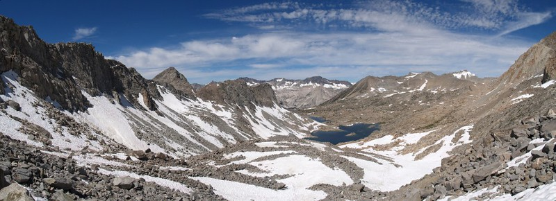 Dusy Basin panorama from just below Thunderbolt Pass