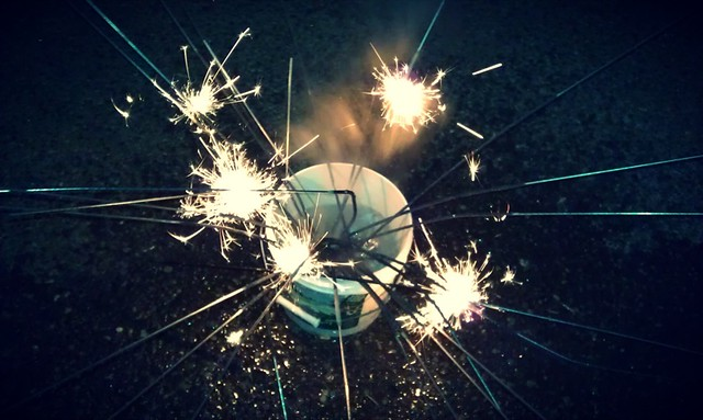 Sparklers in a bucket