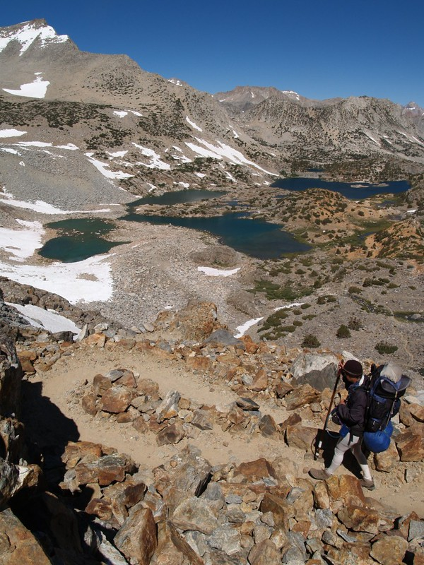 Steep switchbacks on the headwall above Bishop Lake on the Bishop Pass Trail
