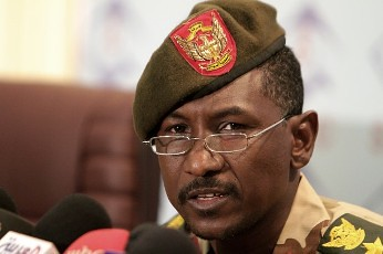The official spokesman of the Sudanese Armed Forces, Colonel Sawarmi Khaled Saad, addresses the media in Khartoum on October 31, 2011 on the situation in South Kordofan state, where clashes have occured. by Pan-African News Wire File Photos