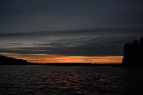 sunset lake dusk