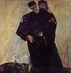 Hermits, Self Portrait with Klimt, 1912, by Egon Schiele