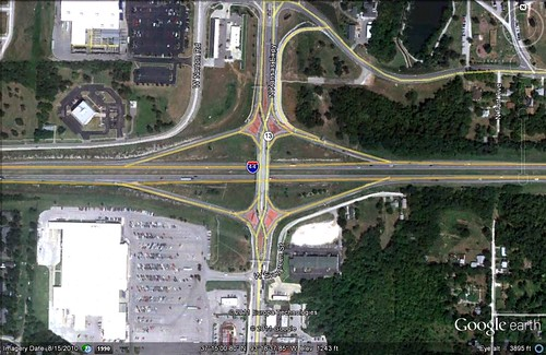 the diverging diamond (via Google Earth)