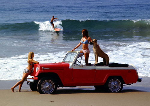 Jeep Jeepster Convertible on Beach by lee.ekstrom