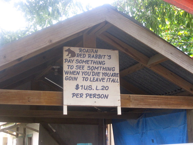 odd sign in west end roatan honduras
