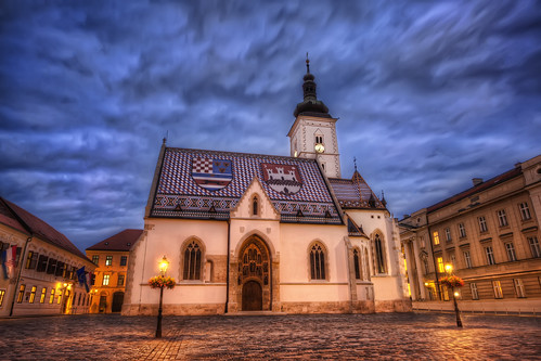 city roof urban slr tower parish clouds digital photoshop canon square eos lights photo high europe coatofarms catholic dynamic croatia spire tiles photograph zagreb processing 5d lamps bluehour balkans dslr cobbles range hdr highdynamicrange croatian stmarkssquare slavonia hrvatska balkan markii dalmatia tiled postprocessing mitteleuropa stmarkschurch photomatix republicofcroatia crkvasvmarka churchofstmark thefella 5dmarkii conormacneill thefellaphotography northbalkans triunekingdomofcroatiaslavoniaanddalmatia