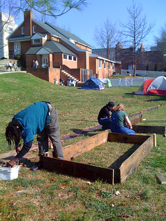 Garden Group making raised beds at Friends Meeting, Sunday, March 18, 2012
