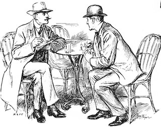 Dialogues gentlemen talking across a table