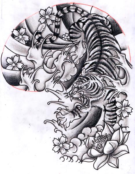 12Oct2011 Oriental inspired Tiger Half Sleeve Design Chris Hatch Tattoo