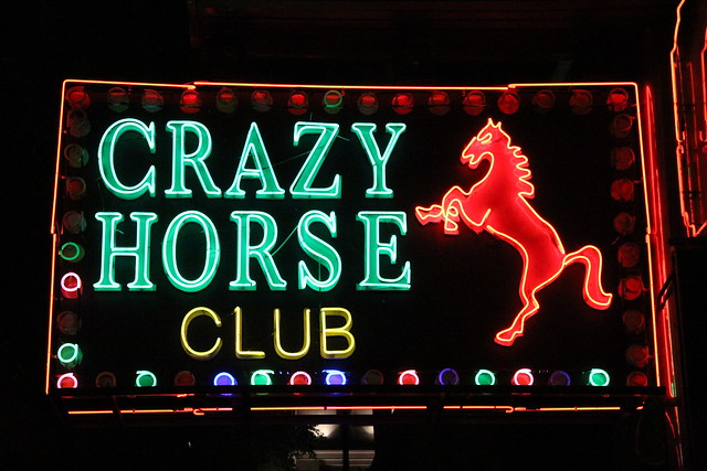 Neon sign of the crazy horse club   Flickr - Photo Sharing!