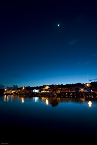 longexposure blue houses sky moon black water yellow clouds stairs sunrise reflections river stars prime village bare jetty trails le walkway bm af 20 nikkor brunei f28 stilts d3 firstlight lampposts filterless batumarang
