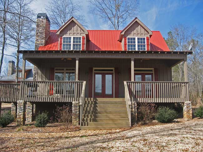 Small 3 bedroom lake cabin with open and screened porch for Lake home plans with porches
