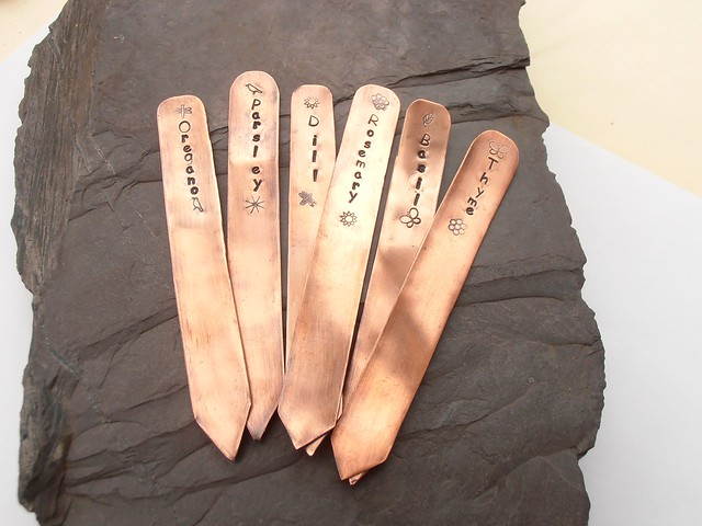 copper metal stamped garden herb plant markers | Flickr ...