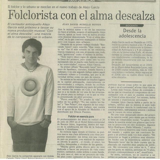 Periódico El Mundo Medellín Febrero 2006