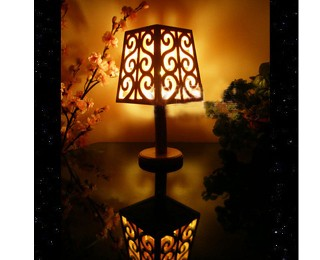 Hand curved wood table lamp
