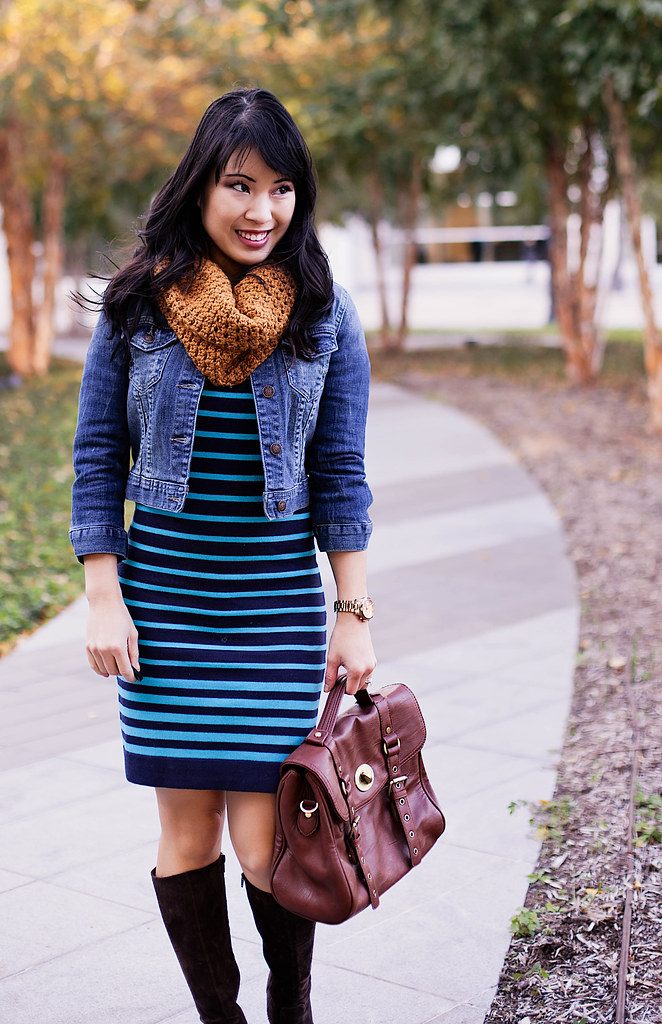forever 21 cropped denim jacket, forever 21 striped sweater dress, michael kors rose gold small runway watch mk5430, tjmaxx vieta lucille buckle satchel, bakers brown suede wedge boots